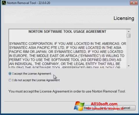 Ekran görüntüsü Norton Removal Tool Windows 10