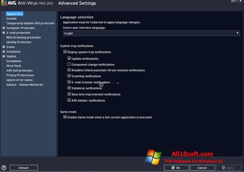 Ekran görüntüsü AVG Windows 10