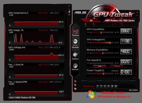 Ekran görüntüsü ASUS GPU Tweak Windows 10