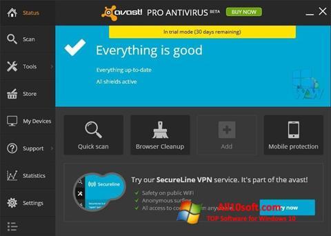 Ekran görüntüsü Avast! Pro Antivirus Windows 10