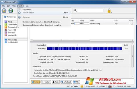 Ekran görüntüsü qBittorrent Windows 10