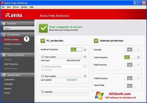 Ekran görüntüsü Avira Windows 10