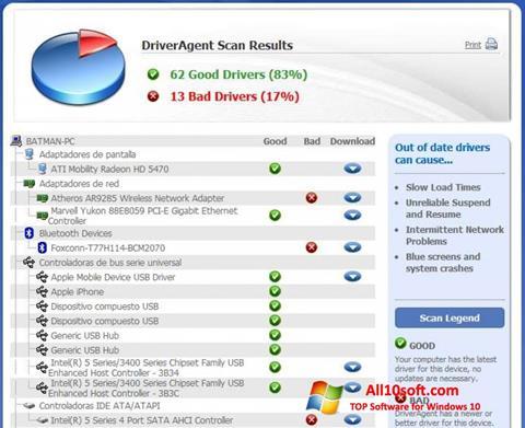Ekran görüntüsü DriverAgent Windows 10