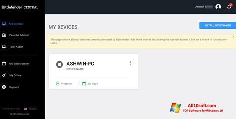 Ekran görüntüsü Bitdefender Windows 10