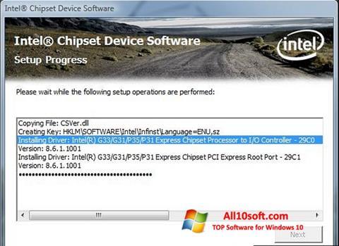 Ekran görüntüsü Intel Chipset Device Software Windows 10