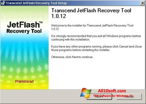 Ekran görüntüsü JetFlash Recovery Tool Windows 10